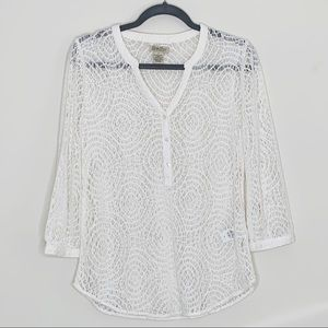 Lucky Brand 3/4 Sleeve Crochet Top White Small